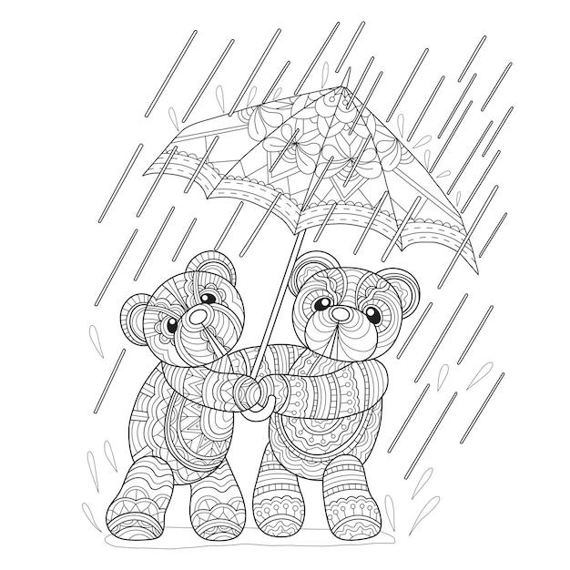2 teddybären am regentag im zentangle-stil Premium Vektoren