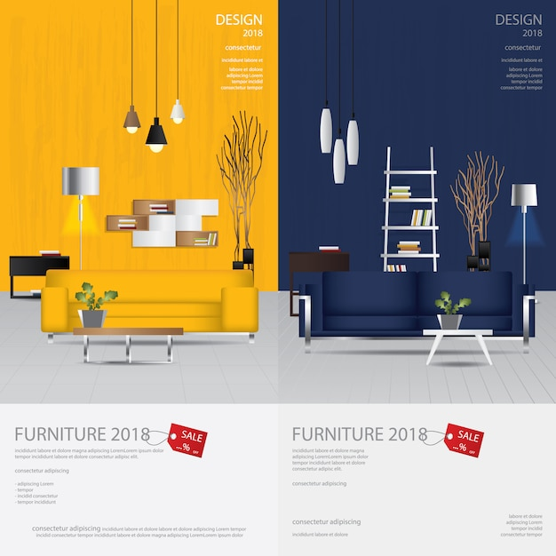 2 vertikale fahnen-möbel-verkaufs-design-schablonen-vektor-illustration Premium Vektoren