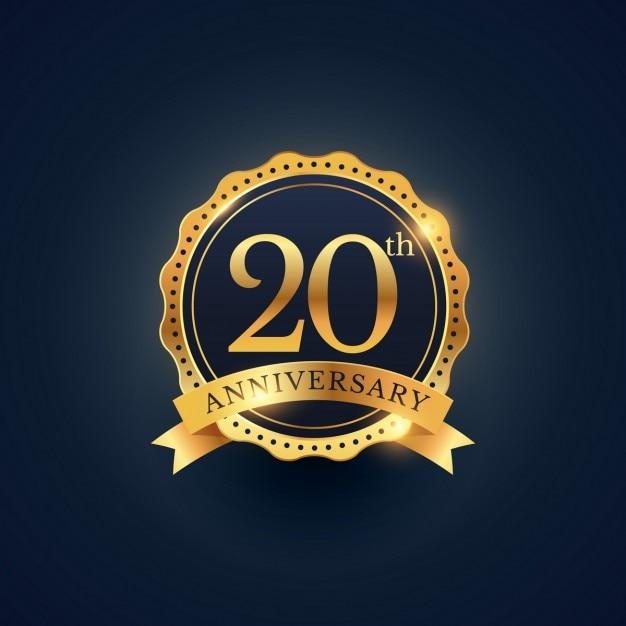 20-jährigen jubiläum abzeichen etikett in der goldenen farbe Kostenlosen Vektoren