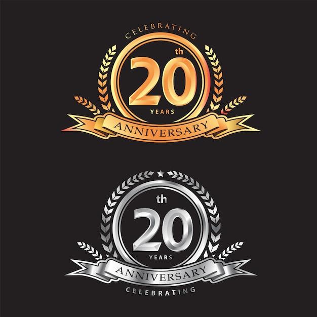 20-jähriges jubiläum, das klassisches vektorlogodesign feiert Premium Vektoren