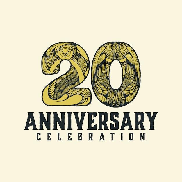 20-jähriges jubiläum vintage-logo Premium Vektoren