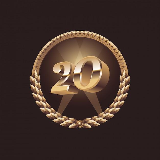20 jahre jubiläumsfeier design. goldenes siegel-logo, illustration Premium Vektoren