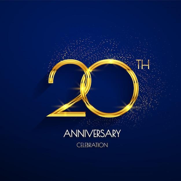 20. jahrestagslogo mit dem luxusgolden lokalisiert auf elegantem blauem hintergrund Premium Vektoren