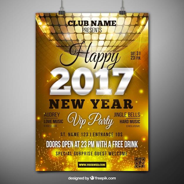 2017 goldene plakat mit disco-kugel Kostenlosen Vektoren