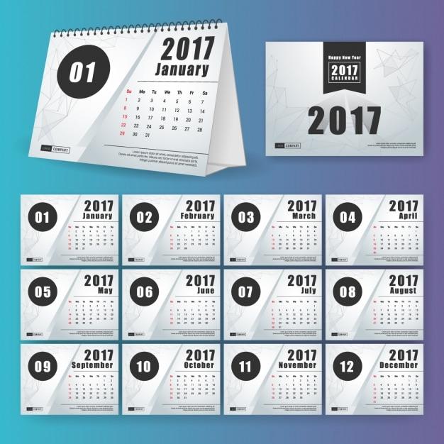 2017 Kalender-Design Kostenlose Vektoren