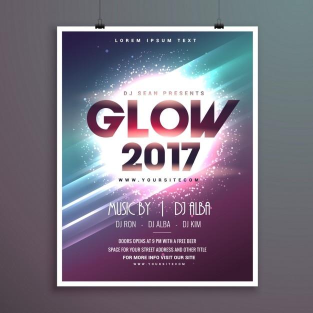 2017 neues Jahr-Party-Flyer Broschüre Vorlage mit leuchtenden ...