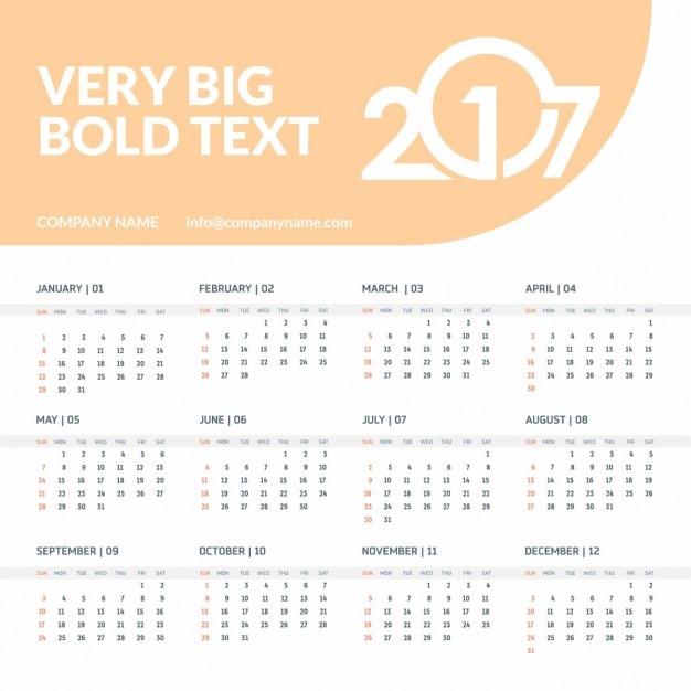 2017 orange Kalender-Vorlage mit Platz für Text   Download der ...