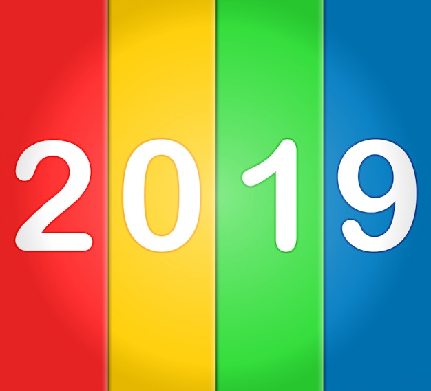 2019 frohes neues jahr mit bunten hintergründen Premium Vektoren