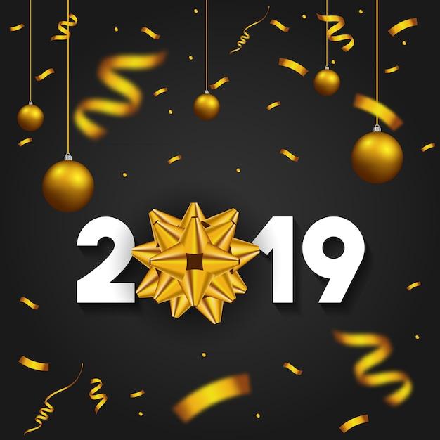 2019 frohes neues jahr mit goldenen geschenk bogen konfetti Premium Vektoren