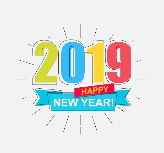 2019 frohes neues jahr Premium Vektoren
