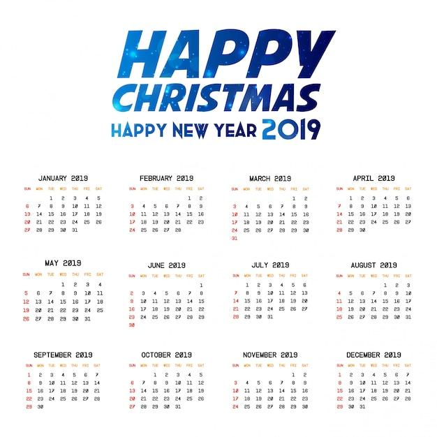 2019 kalendervorlage Premium Vektoren