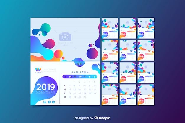 2019 kalendervorlage Kostenlosen Vektoren