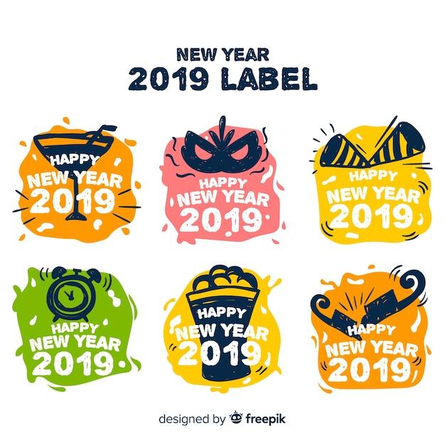 2019 labelsammlung Kostenlosen Vektoren