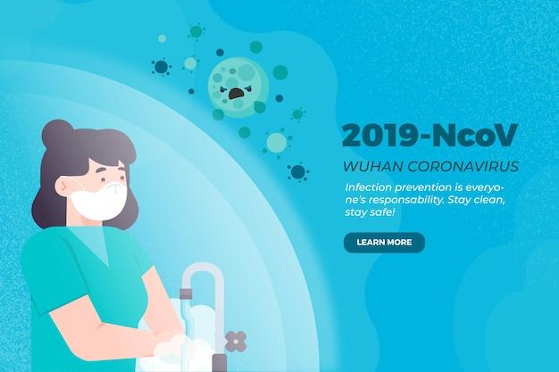 2019-ncov konzeptfrau, die ihre hände wäscht Kostenlosen Vektoren