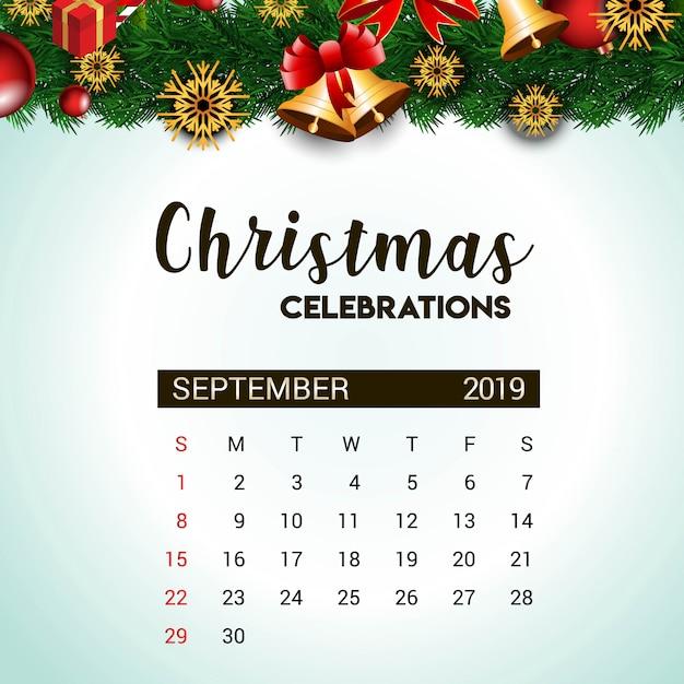 Deko Weihnachten 2019.2019 September Kalender Designvorlage Für Weihnachten Oder Silvester