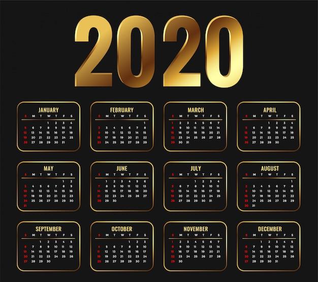 2020 attraktives goldenes kalenderschablonendesign Kostenlosen Vektoren