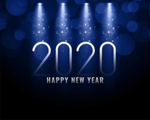2020 blauer hintergrund des neuen jahres mit hellen strahlen Kostenlosen Vektoren