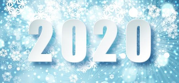 2020 blue christmas typografie. wintersaisonhintergrund mit fallendem schnee. weihnachts- und des neuen jahresplakatschablone. urlaubsgrüße. . Premium Vektoren
