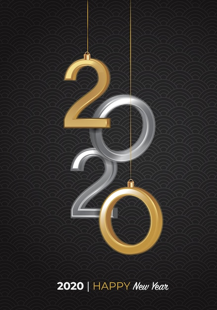 2020 frohes neues 3d-logo Premium Vektoren