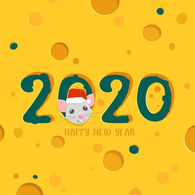 2020 frohes neues jahr grußkarte. käsehintergrund mit karikaturratte. Premium Vektoren
