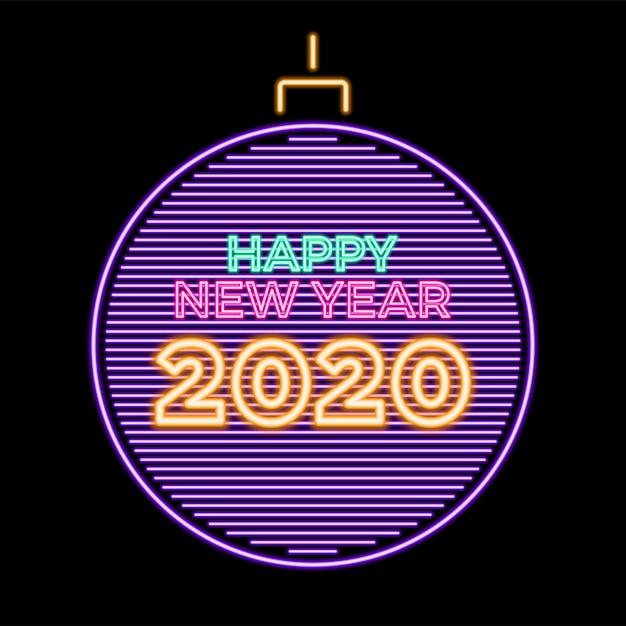 2020 frohes neues jahr leuchtende neon in weihnachtskugel Premium Vektoren