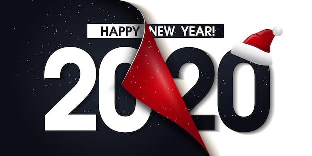 2020 frohes neues jahr promotion poster oder banner mit offenen geschenkpapier Premium Vektoren