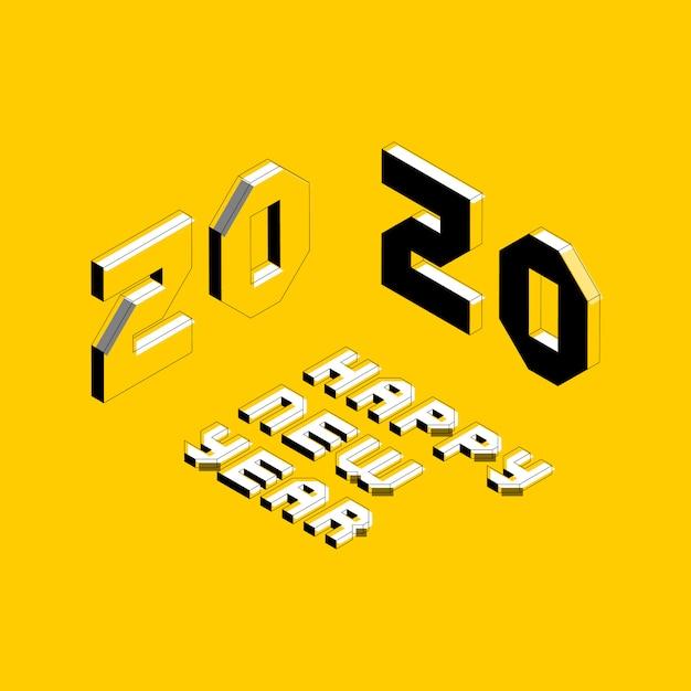 2020 guten rutsch ins neue jahr-grußkarte Premium Vektoren