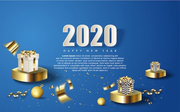 2020 guten rutsch ins neue jahr-hintergrund mit einigen geschenkboxen und weißen zahlen Premium Vektoren