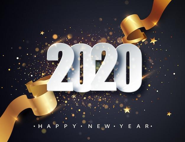 2020 guten rutsch ins neue jahr-vektorhintergrund mit goldenem geschenkband, konfettis und weißen zahlen. Premium Vektoren
