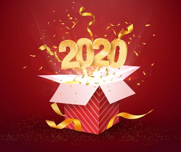2020 nummer und offene rote geschenkbox mit explosionen konfetti isoliert Premium Vektoren