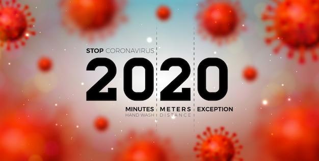 2020 stoppen sie das coronavirus-design mit fallender covid-19-viruszelle Kostenlosen Vektoren