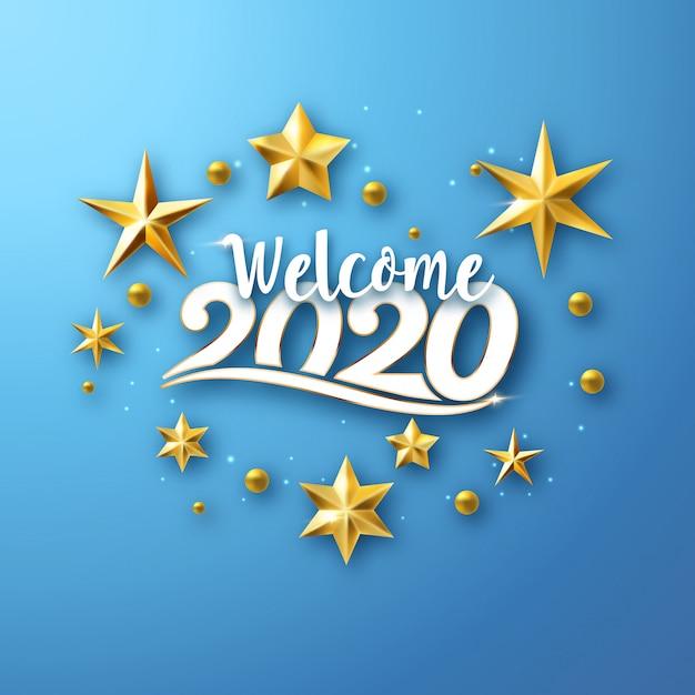 2020 typografische neujahrs-grußkarte Premium Vektoren