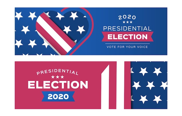 2020 uns präsidentschaftswahl banner pack Kostenlosen Vektoren