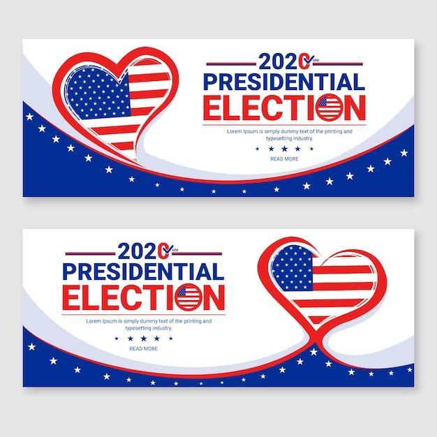 2020 uns präsidentschaftswahl banner vorlage Premium Vektoren