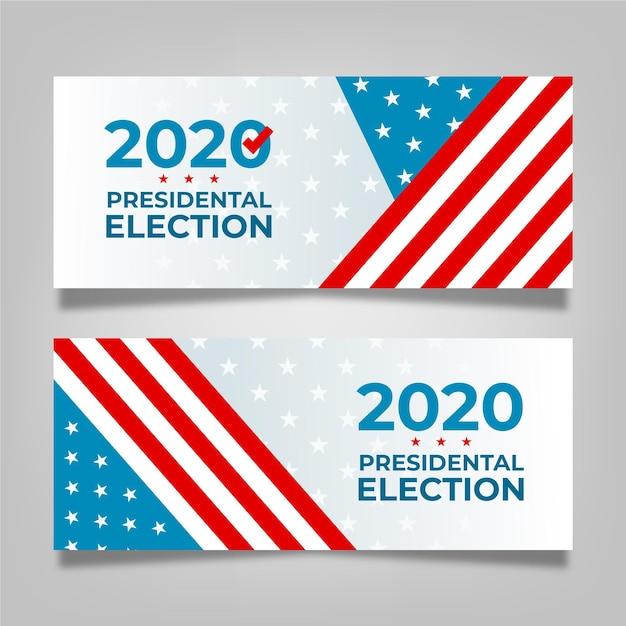 2020 uns präsidentschaftswahl banner Premium Vektoren