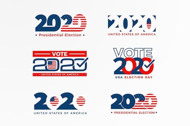 2020 us präsidentschaftswahl logo sammlung Premium Vektoren