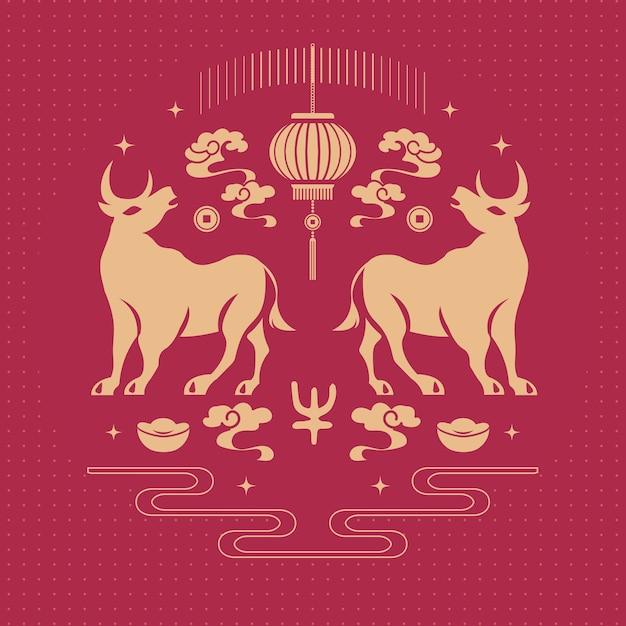 2021 frohes chinesisches neujahr mit ochsen- und laternendekoration Premium Vektoren