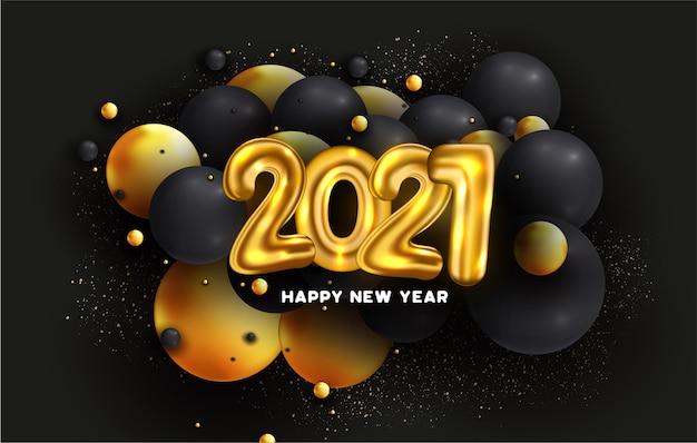 2021 frohes neues jahr karte mit luftballons nummer und abstrakte 3d-kugeln Kostenlosen Vektoren