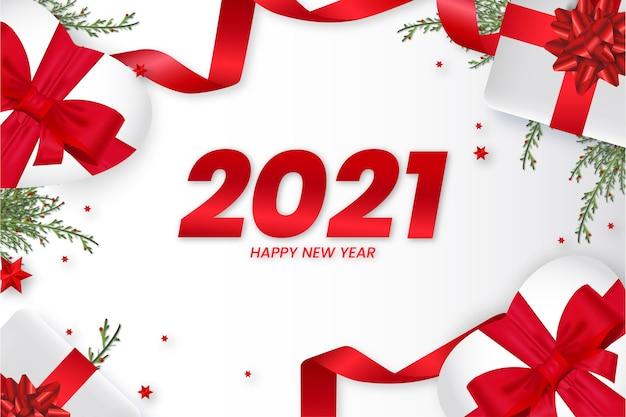 2021 karte mit realistischem weihnachtsdekorationshintergrund Kostenlosen Vektoren
