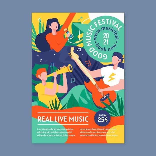 2021 musik event poster konzept Kostenlosen Vektoren