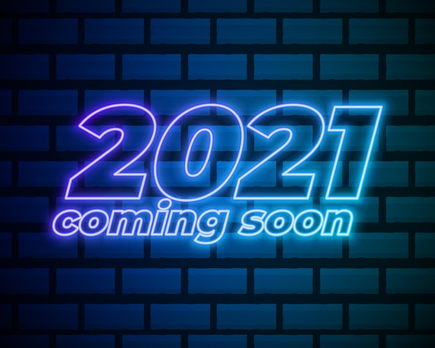 2021 neontext. 2021 neujahrs-designvorlage. lichtbanner. Premium Vektoren