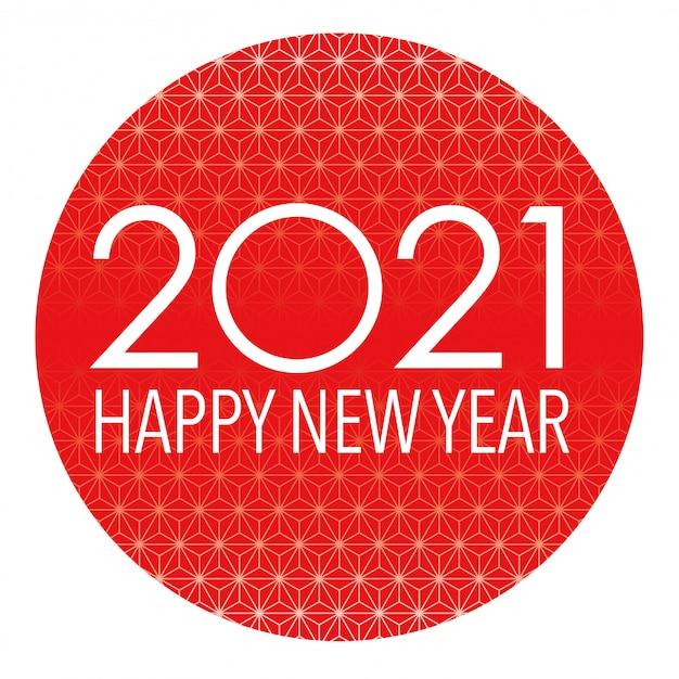 2021 neujahrssymbol mit einem roten runden hintergrund verziert mit traditionellem japanischem muster Premium Vektoren
