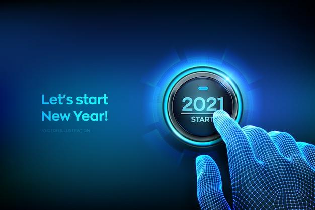 2021 starten. finger kurz vor dem drücken einer taste mit dem text 2021 starten. Premium Vektoren