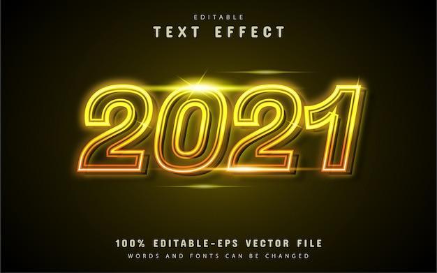 2021 texteffekt gelbes neon Premium Vektoren