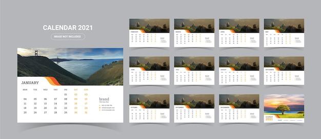 2021 tischkalender illustration Premium Vektoren