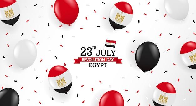 23. juli, revolutionstag ägypten. grußkarte mit luftballons und konfetti. Premium Vektoren