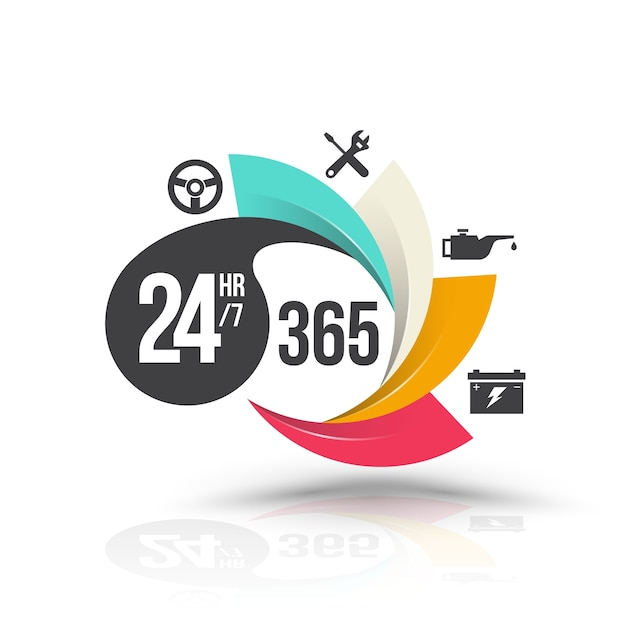 24 stunden 7 und 365 tage mit icons für services banner Premium Vektoren