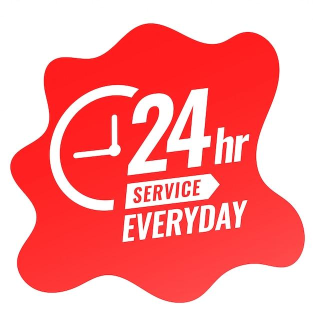 24-stunden-service-tagesbanner mit uhrendesign Kostenlosen Vektoren