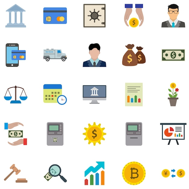 25 banken icons Premium Vektoren
