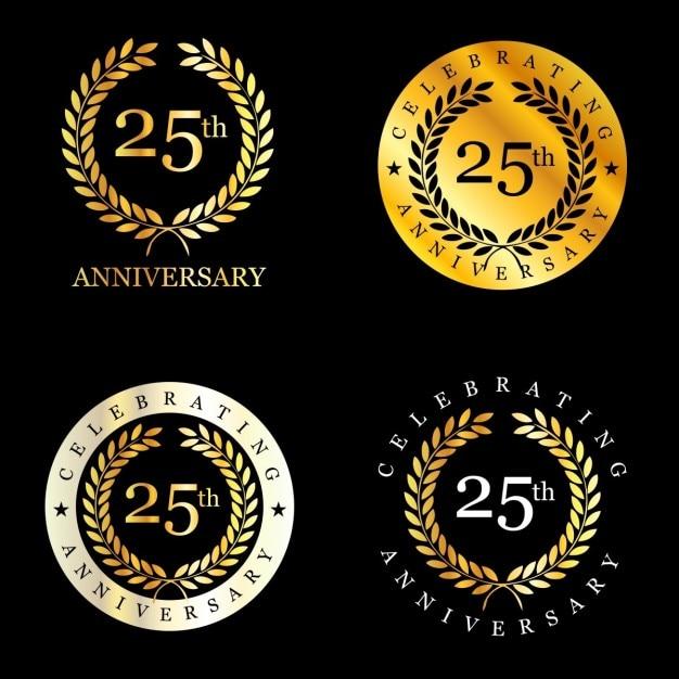 25 jahre feiern lorbeerkranz Kostenlosen Vektoren